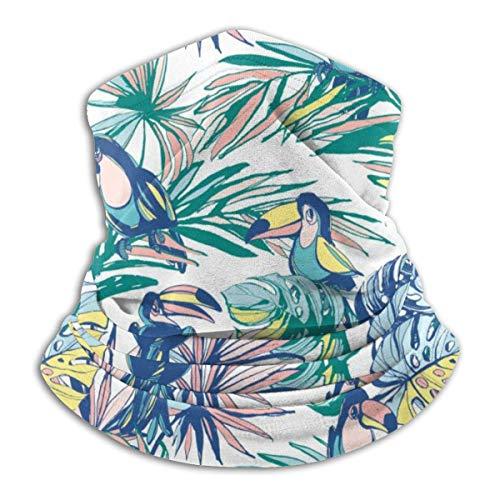 LCYYDECO Bandanas pasamontañas de media cara dibujado a mano hojas de palmeras tropicales, flores, pájaros, calentador de cuello de microfibra para exteriores, deportes
