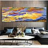 Nube abstracta Pintura de barco Impresión de arte de pared moderno Imagen de onda multicolor Obra de arte en lienzo para decoraciones de oficina 30x105cm (12x42in) Marco interno