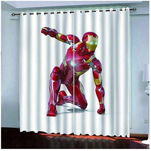 LLPZ Cortinas Opacas, Impresión 3D De Superhéroe para Niños, Habitación De Niños, Decoración De Dormitorio De Niño, Sala De Estar del Dormitorio del Hogar2Xw140Xl245Cm