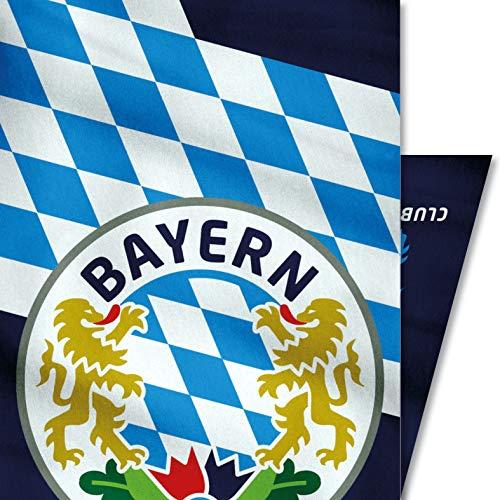 Bayern Wappen Tuch, nahtloses Multi-Funktiontuch 25 x 50 cm / Bandana, weiche Mikrofaser / Halstuch Kopftuch Schal Stoff-Maske Mundschutz / Bavaria Löwe weiss-blau Bayerisch Alpen Berge Flagge