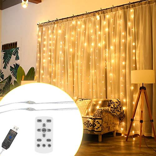 LED Licht 3x3 Meter Wasserfall Licht Hintergrund Eis Streifen Lichtvorhang Lichterkette Hochzeitsdekoration Sterne Vorhang Licht USB Fernbedienung Licht Familie Weihnachtsfeier Gartendekoration