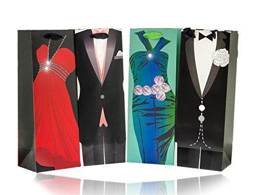 8 x flessenzakje geschenktasje draagtas flessendrager met lus, draagbanden, cadeaulint, met echte knopen, glittersteentjes, pak, kostuum, rooking, bruiloft, party, feest
