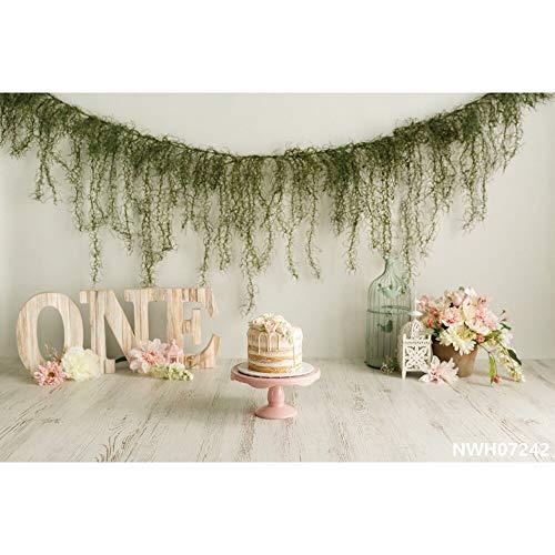 Globos de fondo de cumpleaños con flores, árboles, ositos de Troya para baby shower retrato de fotografía fondos para estudio fotográfico A4 7x5ft/2.1x1.5m