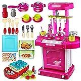 AHP 1 Satz Tragbare Rosa Elektronische Kinder Kinder Kueche Kochen Maedchen Spielzeug Herd Spielset Kinder-Küchenspielset Mein Kleiner Koch,42 * 25 * 65.5cm