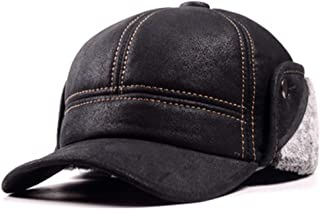Mens Winter Leather Suede Bomber Hat Nubuck Thick Head Warm Dome Caps