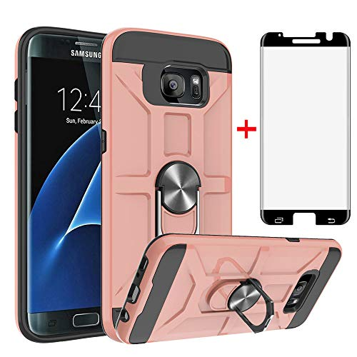 Phone Case for Samsung Galaxy S7 Edge 5.5 inch with Stand Tempered Glass Screen Protector Cover Credit Holder Wallet Slim Protective Cell Accessories Glaxay S7edge S 7 Plus GS7 7s 7edge Rose Gold