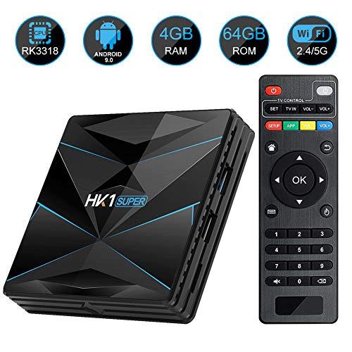 HK1 SUPER Android 9.0 TV Box 4GB RAM 64GB ROM RK3318 Quad-Core Dual WiFi 2.4G/5G BT 4.0 Ethernet H.265 USB 3.0 Supports 3D 4K Ultra HD Smart TV Box