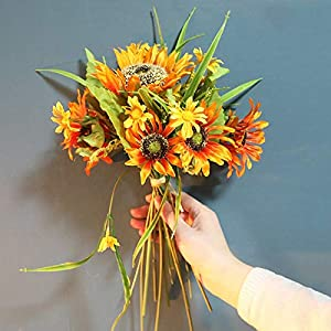 Artificial and Dried Flower Artificial Silk Sunflower Bouquet Summer Wedding Home Decorations Table Arrangements Fake Flowers for Living Room