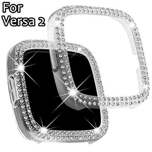 Falandi Kompatibel mit Fitbit Versa 2 Hülle, Face Cover Bling Crystal Diamonds Shiny Strass Bumper, PC Plated Hard Protective Frame for Versa 2 Smartwatch Frauen Mädchen