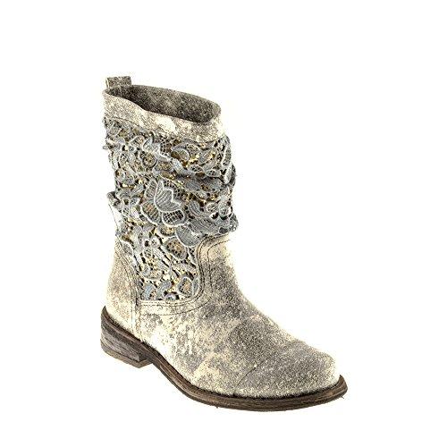 Felmini - Damen Schuhe - Verlieben Gredo A947 - Cowboy & Biker Stiefel - Echtes Leder - Schwarz - 40 EU Size