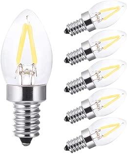 led Night Light Bulbs,Refrigerator Indicator Light,Led Mini Light,C7 1W Edison Led Filament Bulb,10W Incandescent Replacement,Torpedo Shape,120V,E12 Base, Daylight White 6000K dimmable(6PCS)