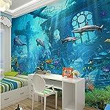 Guyuell 3D Geprägte Sea World Fish Foto Tapeten Wandbilder Tapeten Für Kinder Schlafzimmer Wohnzimmer Wandkunst Dekor Minion Tapete-450Cmx300Cm