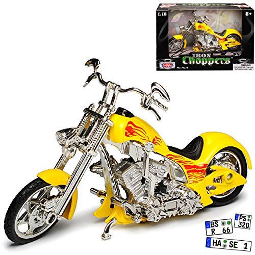 Motormax Iron Choopers Gelb Flammen Custom Chopper 1/18 Modell Motorrad