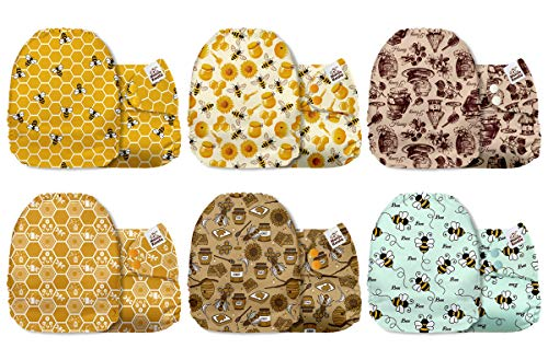 Mama Koala One Size Baby Washable Reusable Pocket Cloth Diapers, 6 Pack Cloth Nappies Without Inserts (Busy Bees)