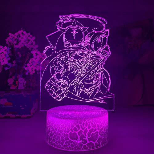 Lâmpadas Lava para Adultos Manga Fullmetal Alchemist Elric Figura Luz noturna LED 7 cores Decoração de quarto infantil USB Mesa 3D Decoração de rachaduras Bebê Dormir Crianças 7 cores Toque TIEHENG HOICHAN