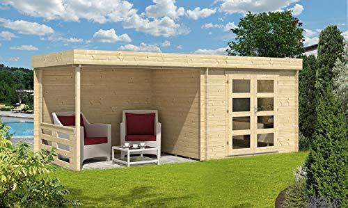 CARLSSON Alpholz Tuinhuis Neustadt van massief hout | Gereedschapsschuur met 28 mm wanddikte | Tuin houten huis inclusief montagemateriaal | Gereedschapsschuur Grootte: 598 x 250 cm | vlak dak