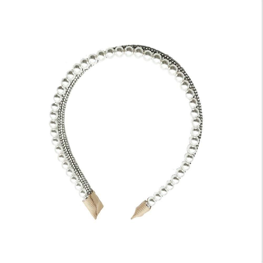 LILINGJIA Headband full of drilling, drilling, pearl double-layer headband personality fairy cute hair card