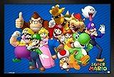 Pyramid America Super Mario Bros Nintendo Video Game Group Characters Mario Luigi Black Wood Framed Poster 20x14