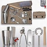 Bartender Kit With Canvas Bag - 27 Bar Accessories - Complete Cocktail Shaker Set - Mixology Bartending Kit : Shaker, Wooden Muddler, Jigger, 3 Strainers, Martini Tool Travel Portable Barware Kit