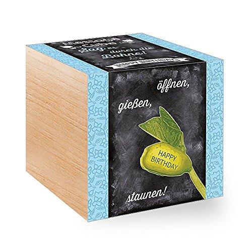 Cube de mesure > Happy Birthday – Le message des plantes dans les cubes en bois