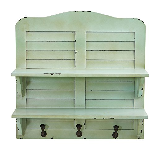 Nearly Natural Vintage Window Shutter Shelving with Wall Hooks, 20