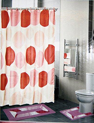 18 Piece Large Bath Set With Pink Circle Design Mat Contour Rug