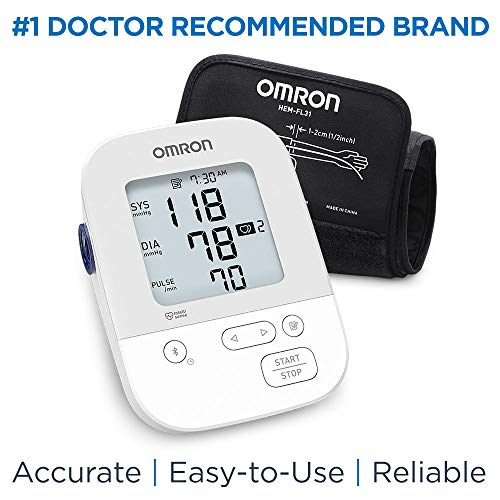 Omron Silver Blood Pressure Monitor, Upper Arm Cuff, Digital Bluetooth Blood Pressure Machine, Storesup To 80 Readings