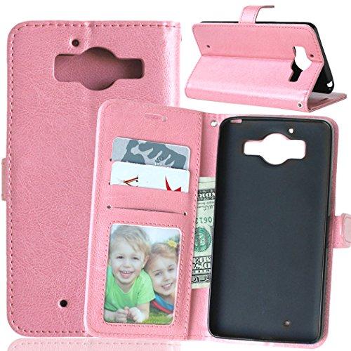 Funda Nokia Microsoft Lumia 950,Bookstyle 3 Card Slot PU Cuero Cartera para TPU Silicone Case Cover-Rosa