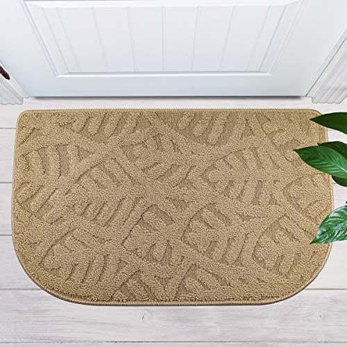 """TOONOW Indoor Doormat Front Door Mat,30""""x18"""", Low-Profile Machine Washable Kitchen Rug, Absorbent Mud Half Round Entrance Mat for Outdoors, Entryway, Patio, Bedroom, Beige"""