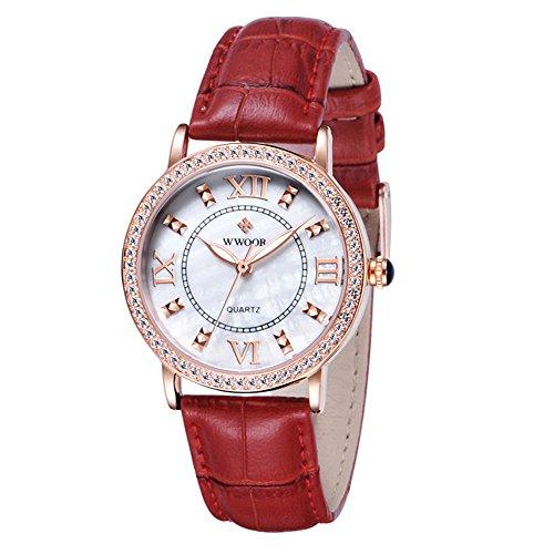 WWOOR 8807 Freizeit-Damenuhren, rote Quarzuhr, Diamant, echtes Zifferblatt, Lederband