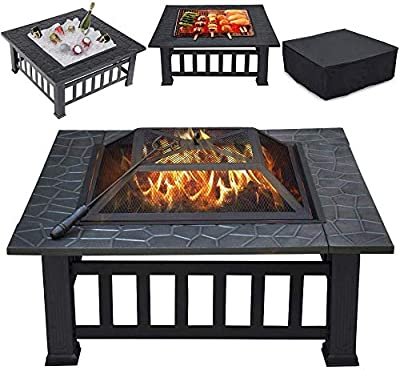 """THANADDO 32"""" Fire Pit Outdoor Wood Burning 3 in 1 Firepit Portable Solo Stove Bonfire Heater Fireplace Fire Table Bowl With Mesh Lid, Poker, BBQ Grill and Waterproof Cover For Patio Backyard Garden by THANADDO"""