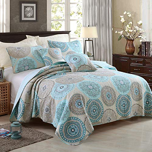 YAYIDAY 100% Cotton Bedspread Quilt Set Queen Size 3Pcs - Breathable Comforter Aqua Blue Floral Quilted Coverlet with Pillow Shams - Farmhouse Country Rustic Bohemian Pattern