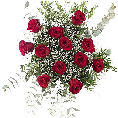 Ramo 12 Rosas Rojas | ENTREGA GRATIS 24 HORAS | Flores Naturales a Domicilio Blossom® | Ramo de Rosas Naturales a Domicilio Frescas y Recién Cortadas