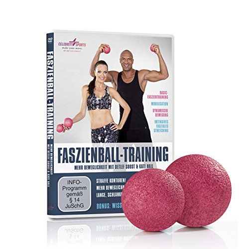 VITALmaxx Faszienball 2-TLG. 8/10cm rosa + DVD, (Yoga, Pilates, Massage, Crossfit, Selbstmassagerolle) 2 Verschiedene Größen,