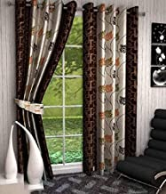 DECO READY 2 Piece Eyelet Polyester Long Door Curtain -10Ft-Brown-Tirshul
