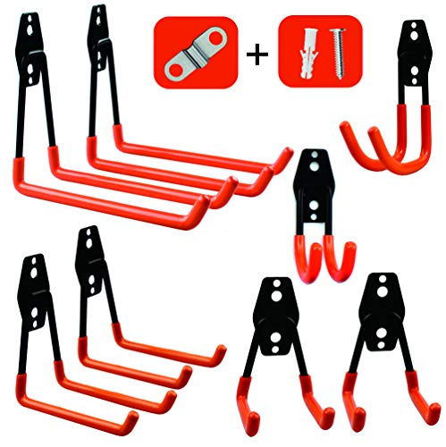 Garage Storage Utility Hooks,Wall Mount&Heavy Duty Garage Hanger & Organizer to Handle Ladder, Hold Chairs,with Premium Steel to Hang Heavy Tools for Up to 55lbs(set of 8)