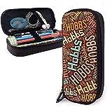 Hobbs American Apellido Funda de cuero de alta capacidad Estuche de lápices Estuche de lápices Bolso de almacenamiento grande Organizador de caja Bolígrafo de maquillaje de oficina Bolso de estudiante