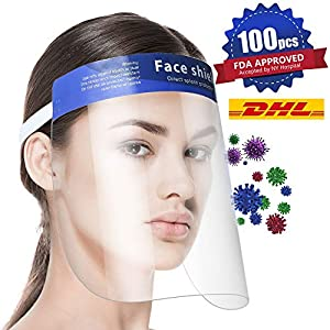 100Pcs FDA Approved Face Shield with Protective Clear Film Protect Eyes and Face Elastic Band and Comfort Sponge
