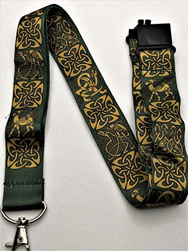 Green Celtic Knot Print Lanyard Key Chain Id Badge Holder