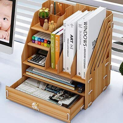 ADSIKOOJF DIY Desktop Book Shelf Desktop Opbergdoos Documenten Boeken Opslag Multi-layer Afwerking Rack Kantoorbenodigdheden