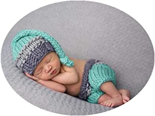 Coberllus Newborn Monthly Baby Photo Props Outfits Crochet Knitted Hat Pants Set for Boy Girls Photography Shoot