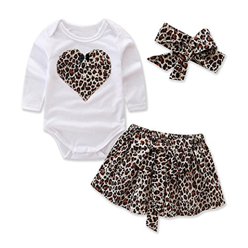 Jimmackey 3pcs Toddler Bambina Maniche Lunghe Stampe Cuore Romper Tuta Cime & Reticolo Leopardo Gonna & Fascia Abiti Set (3 Mesi, caffè)