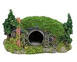 MUJING Hobbit Paisaje en Miniatura Hillside Fairy Hole House Manor Decoración Ideas para acuarios Adorno de Caja para Reptiles 11'L x 8' W x 6.5'H
