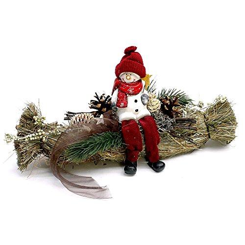 Small-Preis Tavolo Decorativo Treccia di Paglia 28cm con Pupazzo di Neve a Mano–Winter–131