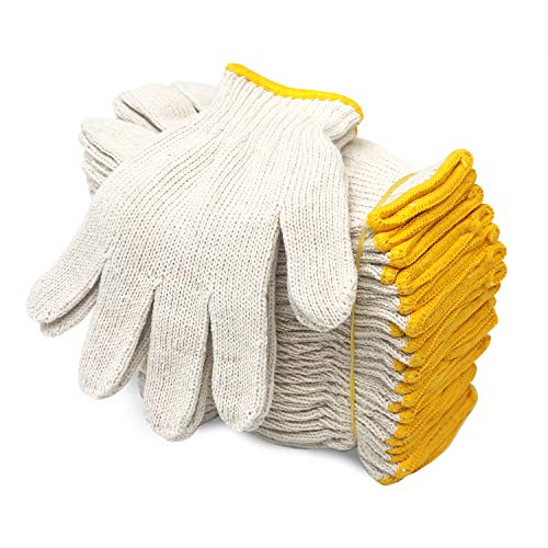 EvridWear Cotton Polyester String Knit Shell Safety Protection Work Gloves for Painter Mechanic Industrial Warehouse Gardening Construction Men & Women 12 Pairs, no Dots, XLarge Size