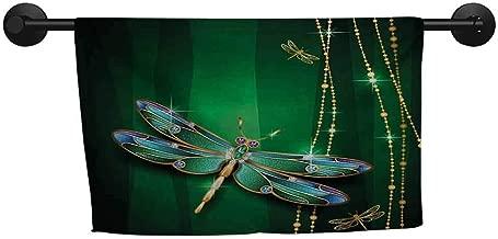 xixiBO Best Bath Towel W 28 x L 12(inch) Beach Fast Dry Towel,Dragonfly,Vivid Figures in Gemstone Crystal Diamond Shapes Graphic Artsy Effects,Gold Hunter Green