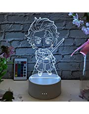 3D Anime Illusielamp Led Nachtlampje Demon Slayer Figuur voor kinderen, USB Kimetsu No Yaiba Demon Slayer Afstandsbediening 16 Kleurverandering Desktoplamp Acryl Anime Gift