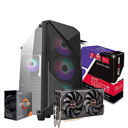 Pc gaming ryzen 3 3100 3.90GHz Max,Scheda video Nitro+ Radeon RX 5500 XT 8G GDDR6, Ram Ddr4 16 Gb,Ssd M.2 500 Gb, Ryzen 3,Windows 10 Computer da gaming assemblato Pc desktop Ryzen 3
