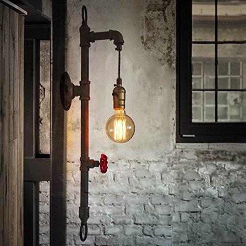 BAYCHEER Editon Rohr Vintage Wandleuchte Industrielle Beleuchtung Retrolampe perfekt fuer Edison Lampe mit Schalter (Schwarz)