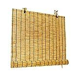 Persianas de rodillos de bambú, naturales hechos de caña, persianas de paja retro premium, filtrado ligero enrollar persianas con cenefa, cortinas decorativas, para exteriores / interiores, personaliz